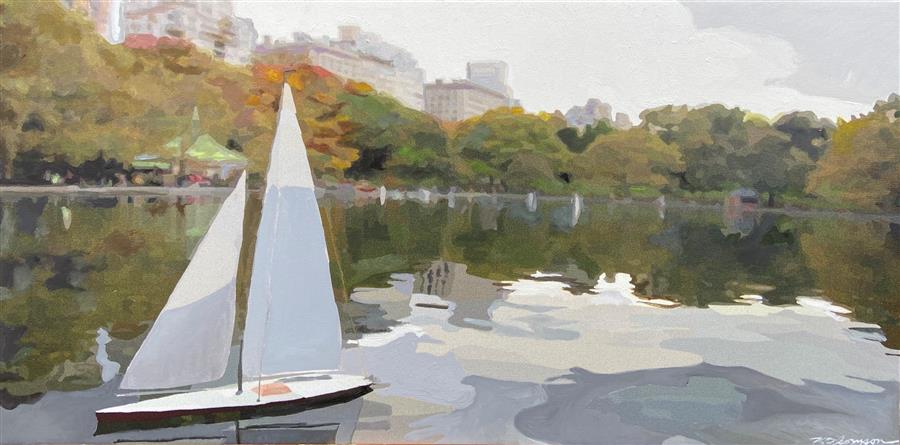 Original art for sale at UGallery.com | Central Park Yacht Club by Keith Thomson | $450 | mixed media artwork | 10' h x 20' w | ..\art\mixed-media-artwork-Central-Park-Yacht-Club