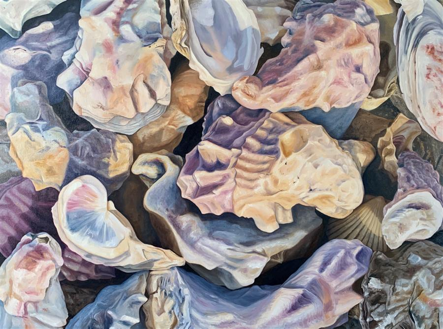 Original art for sale at UGallery.com | Oysters by Debbie Daniels | $5,800 | oil painting | 36' h x 48' w | ..\art\oil-painting-Oysters