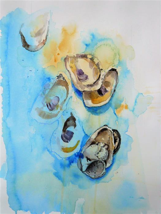 Original art for sale at UGallery.com | Oysters by Robin Hanway | $550 | watercolor painting | 15' h x 11' w | ..\art\watercolor-painting-Oysters