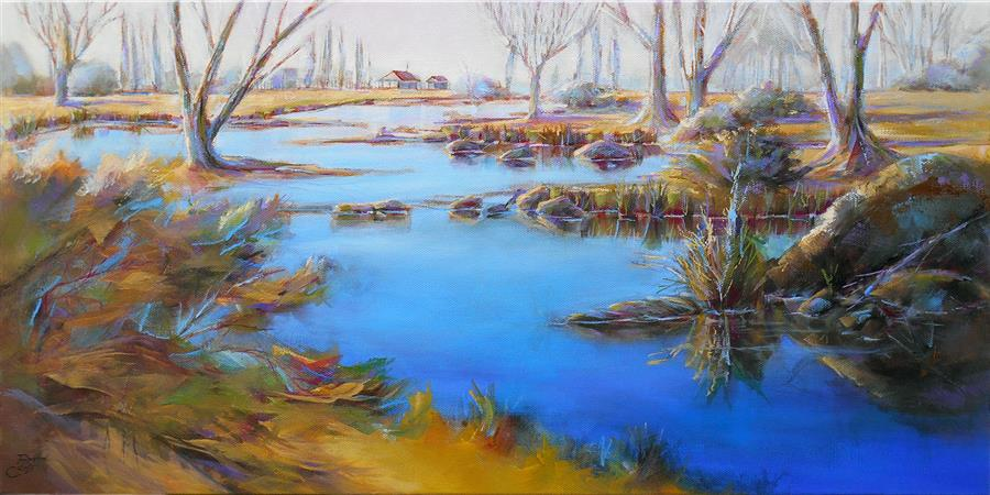 Original art for sale at UGallery.com | Morning Renewal by Pat Cross | $1,075 | oil painting | 12' h x 24' w | ..\art\oil-painting-Morning-Renewal