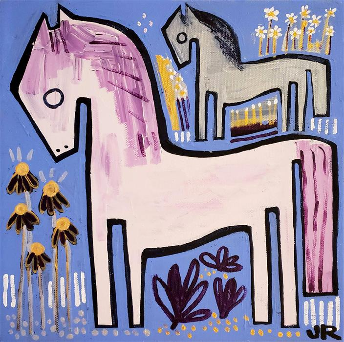 Original art for sale at UGallery.com | Ponies with Wildflowers by Jessica JH Roller | $325 | acrylic painting | 10' h x 10' w | ..\art\acrylic-painting-Ponies-with-Wildflowers