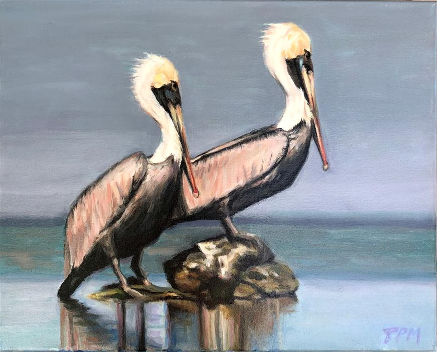 Original art for sale at UGallery.com | Pelican Partners by Tom Manziano | $950 | acrylic painting | 16' h x 20' w | ..\art\acrylic-painting-Pelican-Partners