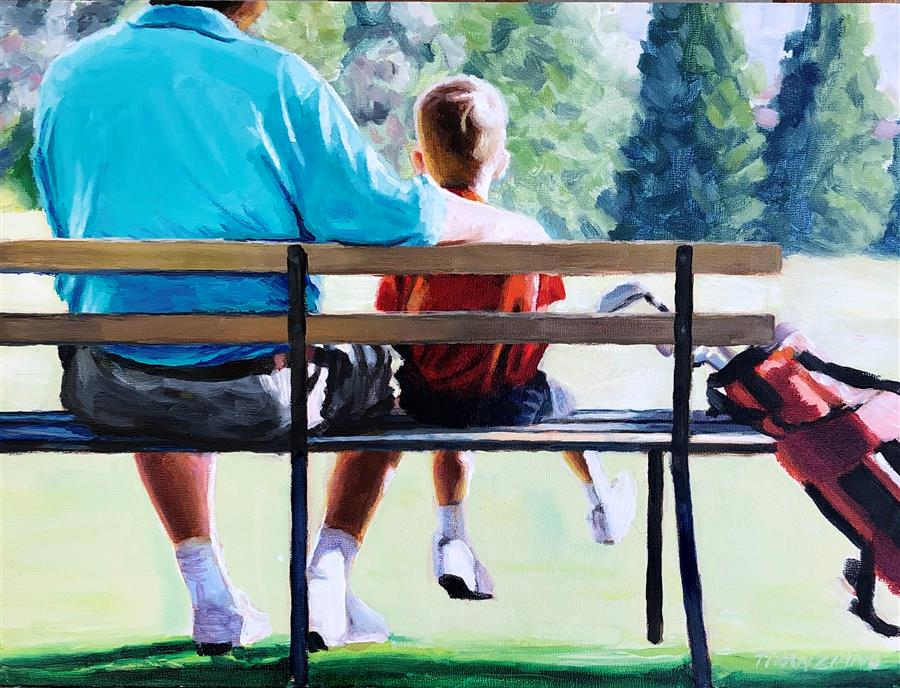 Original art for sale at UGallery.com | Golf Bench by Tom Manziano | $525 | acrylic painting | 9' h x 12' w | ..\art\acrylic-painting-Golf-Bench