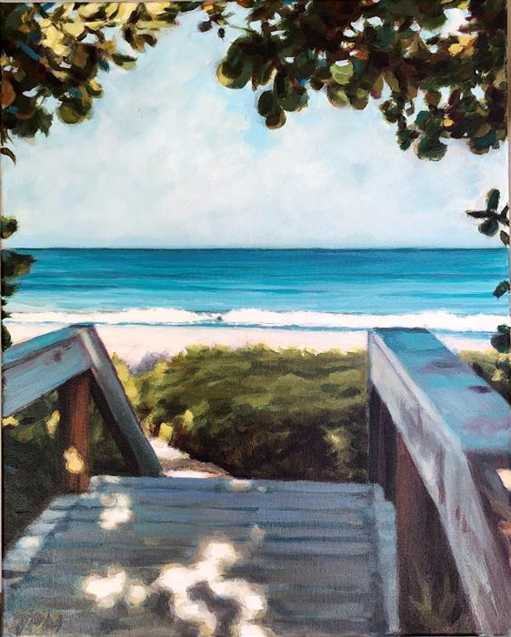 Original art for sale at UGallery.com | Bridge to Paradise by Tom Manziano | $950 | acrylic painting | 20' h x 16' w | ..\art\acrylic-painting-Bridge-to-Paradise