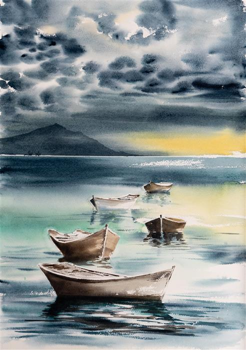 Original art for sale at UGallery.com | Sailing Boats by Yuriy Kraft | $550 | watercolor painting | 22.4' h x 15.7' w | ..\art\watercolor-painting-Sailing-Boats