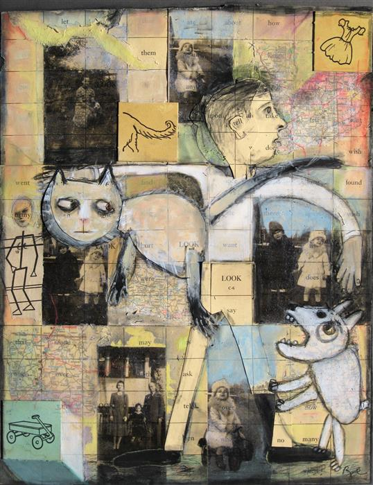 Original art for sale at UGallery.com | Siblings by Libby Ramage | $700 | mixed media artwork | 20' h x 16' w | ..\art\mixed-media-artwork-Siblings