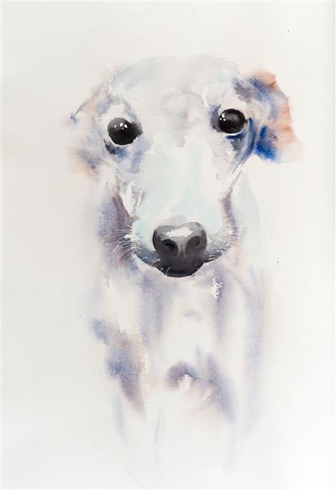 Original art for sale at UGallery.com | Dog's Eyes by Yuriy Kraft | $500 | watercolor painting | 22.4' h x 15.7' w | ..\art\watercolor-painting-Dog-s-Eyes