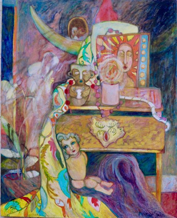 Original art for sale at UGallery.com | Tiny Tears with the Moon Goddess by Dixie Salazar | $875 | oil painting | 28' h x 24' w | ..\art\oil-painting-Tiny-Tears-with-the-Moon-Goddess
