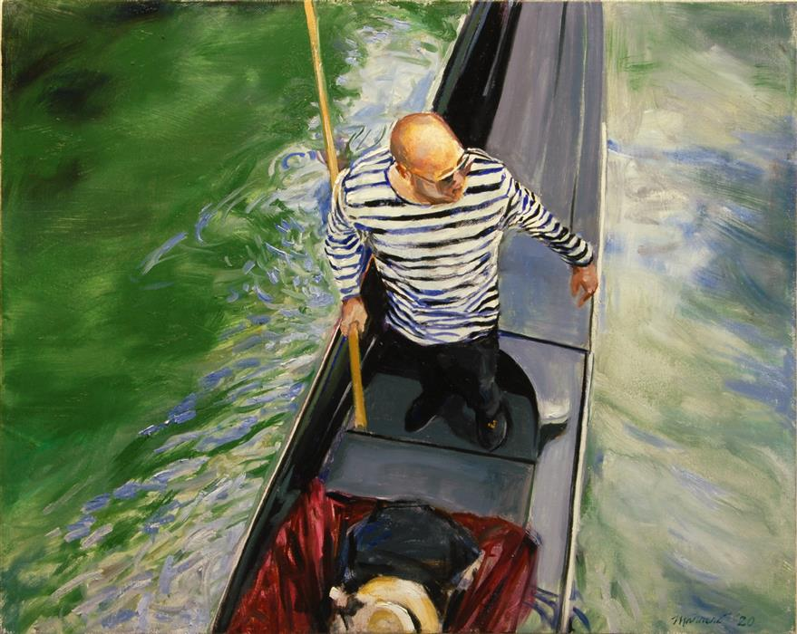 Original art for sale at UGallery.com | Gondolier by Onelio Marrero | $1,000 | oil painting | 16' h x 20' w | ..\art\oil-painting-Gondolier
