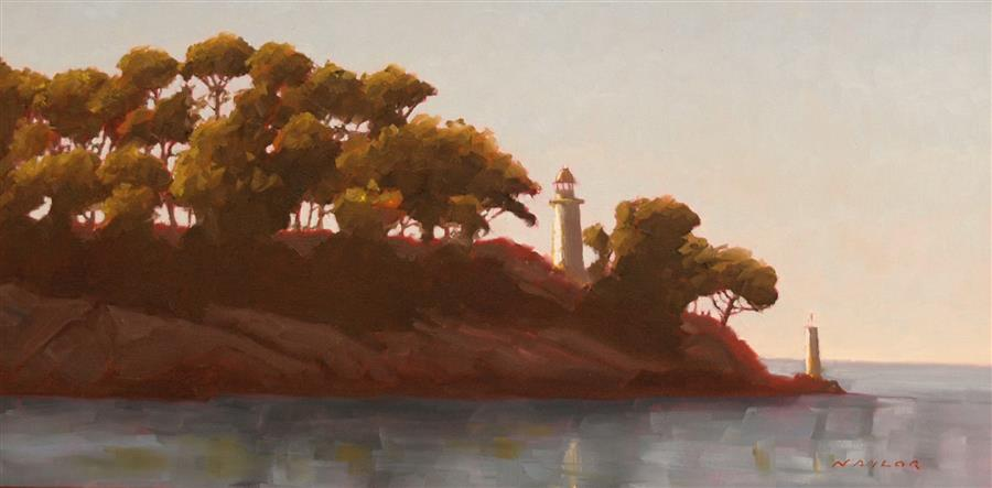 Original art for sale at UGallery.com | Lighthouse by Rodgers Naylor | $1,150 | oil painting | 12' h x 24' w | ..\art\oil-painting-Lighthouse