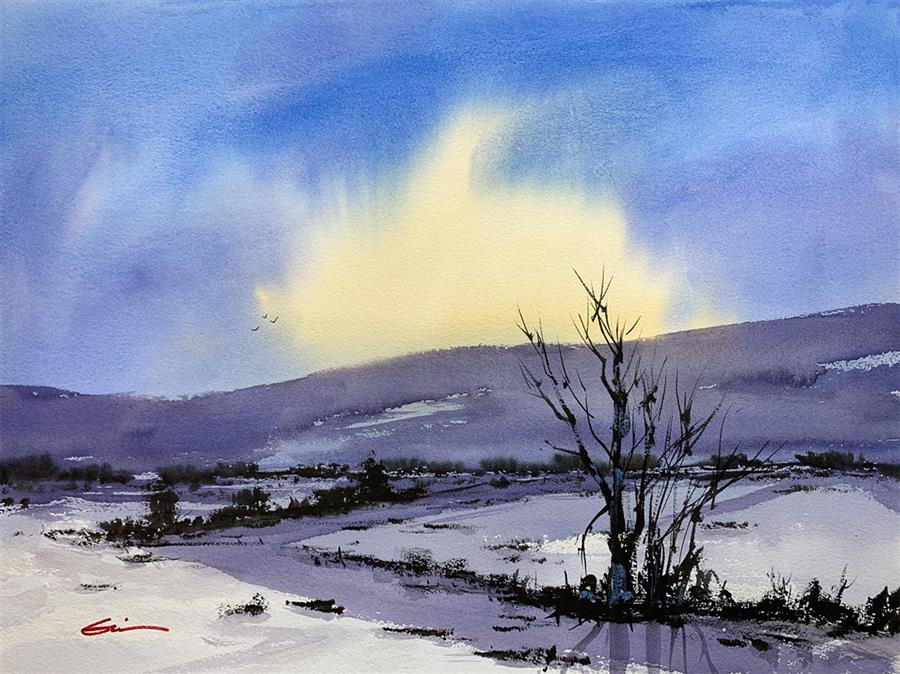 Original art for sale at UGallery.com | Sunrise Winter by Posey Gaines | $900 | watercolor painting | 18' h x 24' w | ..\art\watercolor-painting-Sunrise-Winter