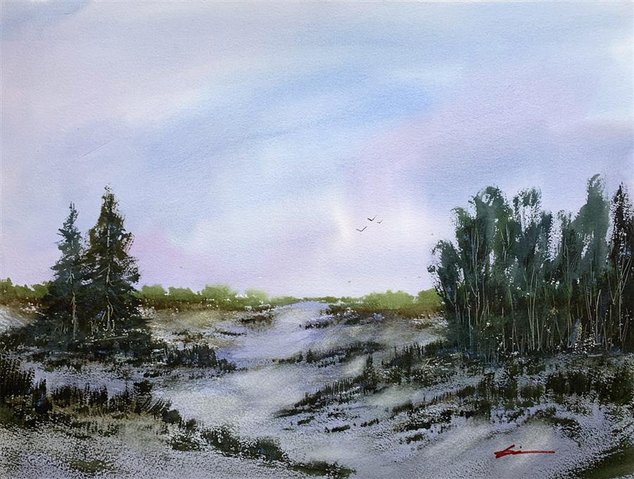 Original art for sale at UGallery.com | Wilderness Mood by Posey Gaines | $900 | watercolor painting | 18' h x 24' w | ..\art\watercolor-painting-Wilderness-Mood