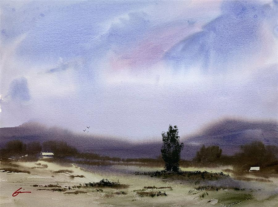 Original art for sale at UGallery.com | Blustery Tuesday by Posey Gaines | $900 | watercolor painting | 18' h x 24' w | ..\art\watercolor-painting-Blustery-Tuesday