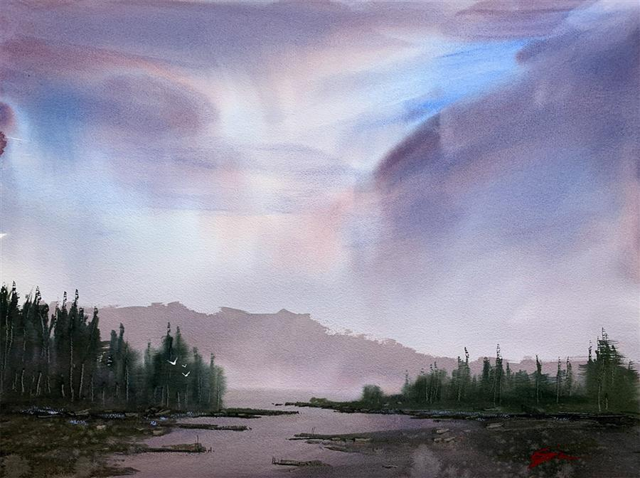 Original art for sale at UGallery.com | Morning Glow by Posey Gaines | $900 | watercolor painting | 18' h x 24' w | ..\art\watercolor-painting-Morning-Glow