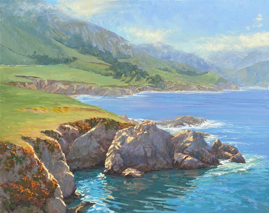 Original art for sale at UGallery.com   Rocky Point Blues by Tatyana Fogarty   $2,775   oil painting   24' h x 30' w   ..\art\oil-painting-Rocky-Point-Blues