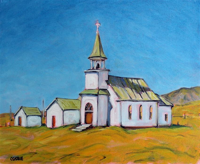 Original art for sale at UGallery.com | Old Lutheran Church, Melville, Montana by Doug Cosbie | $350 | oil painting | 10' h x 12' w | ..\art\oil-painting-Old-Lutheran-Church-Melville-Montana
