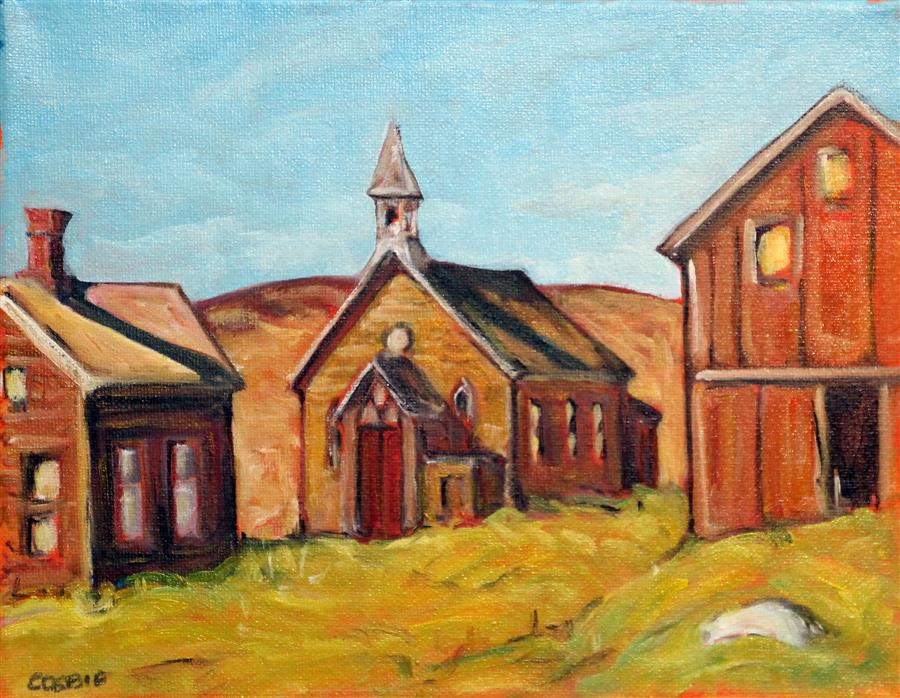 Original art for sale at UGallery.com | Bodie, California by Doug Cosbie | $250 | oil painting | 8' h x 10' w | ..\art\oil-painting-Bodie-California
