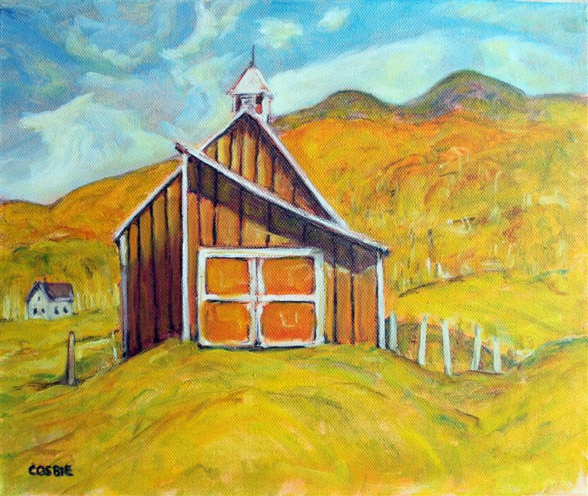 Original art for sale at UGallery.com | Grandview Farm Barn, Stowe, Vermont by Doug Cosbie | $300 | oil painting | 10' h x 12' w | ..\art\oil-painting-Grandview-Farm-Barn-Stowe-Vermont