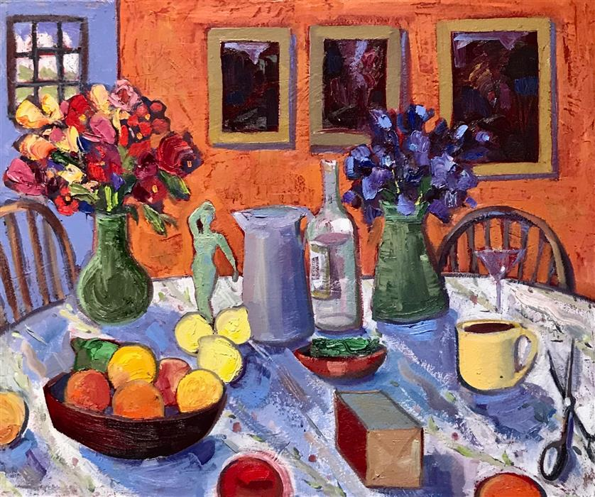 Original art for sale at UGallery.com | Still Life Tablescape by James Hartman | $2,300 | oil painting | 30' h x 36' w | ..\art\oil-painting-Still-Life-Tablescape