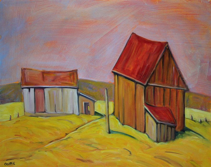 Original art for sale at UGallery.com | Dunrobin Barns by Doug Cosbie | $375 | oil painting | 16' h x 20' w | ..\art\oil-painting-Dunrobin-Barns