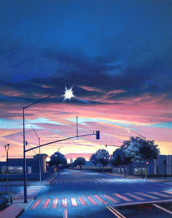 Original art for sale at UGallery.com | Nocturne in Blue by Jesse Aldana | $1,375 | oil painting | 30' h x 24' w | ..\art\oil-painting-Nocturne-in-Blue