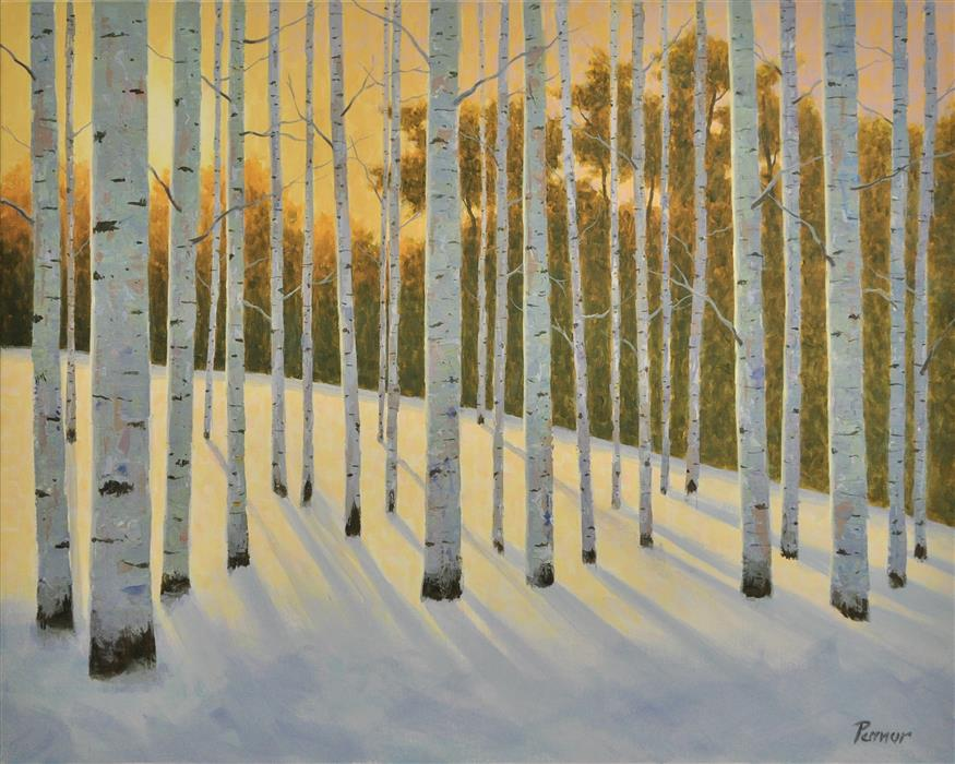Original art for sale at UGallery.com | Sunset Aspens by Robert Pennor | $1,150 | acrylic painting | 24' h x 30' w | ..\art\acrylic-painting-Sunset-Aspens
