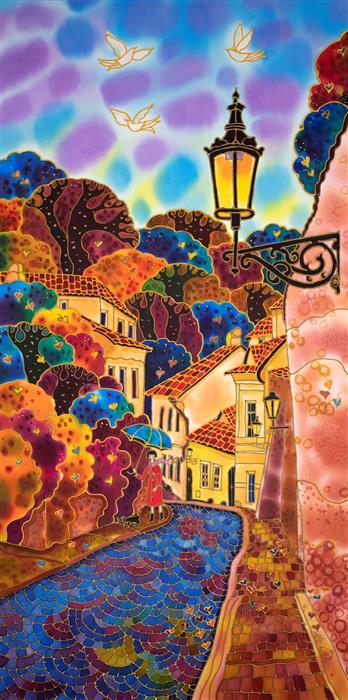 Original art for sale at UGallery.com | Blue Umbrella. Street in Prague. by Yelena Sidorova | $1,475 | mixed media artwork | 40' h x 20' w | ..\art\mixed-media-artwork-Blue-Umbrella-Street-in-Prague