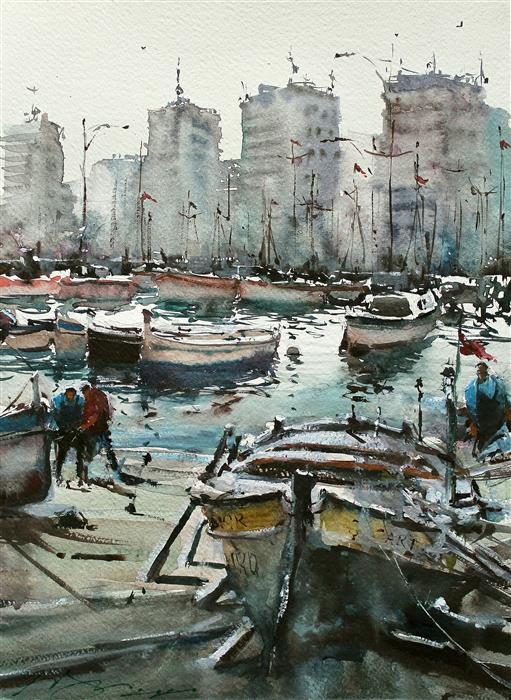 Original art for sale at UGallery.com | Izmir Port by Maximilian Damico | $600 | watercolor painting | 15' h x 11' w | ..\art\watercolor-painting-Izmir-Port