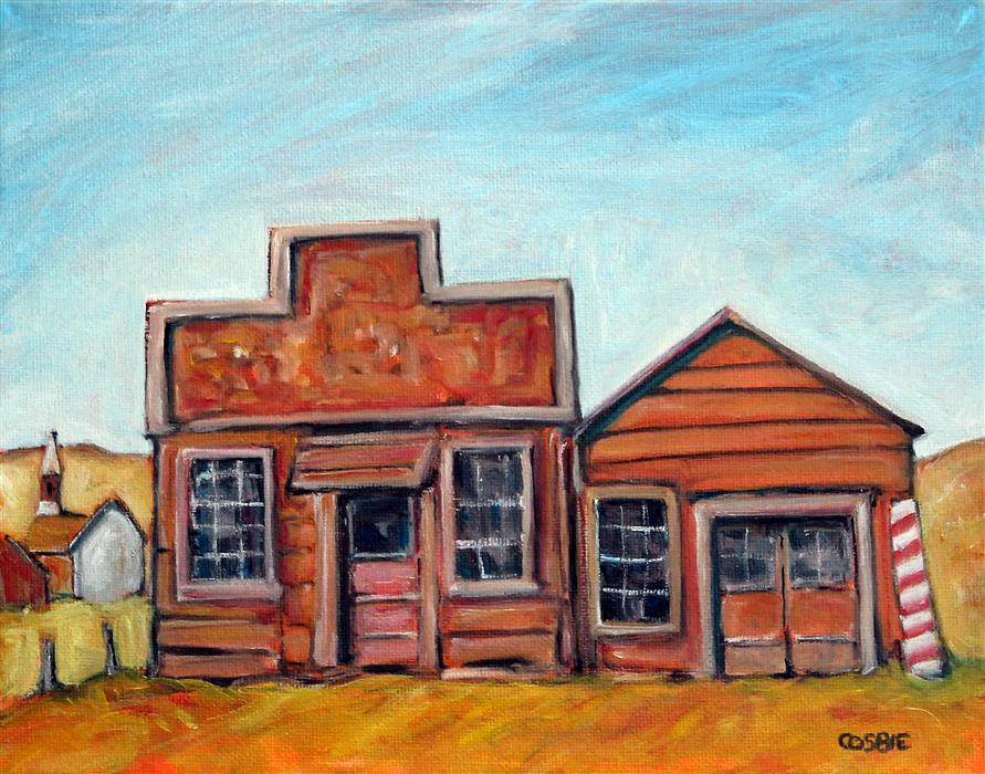 Original art for sale at UGallery.com | Old Bodie Bar and Barbershop by Doug Cosbie | $250 | oil painting | 8' h x 10' w | ..\art\oil-painting-Old-Bodie-Bar-and-Barbershop