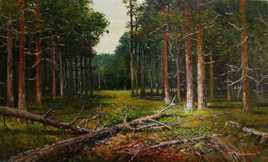Original art for sale at UGallery.com | Forest Encounter by Kent Sullivan | $1,400 | oil painting | 14' h x 24' w | ..\art\oil-painting-Forest-Encounter
