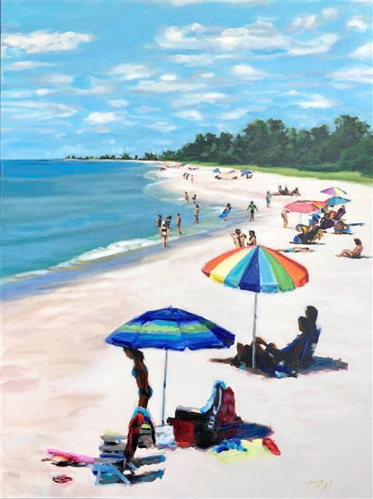 Original art for sale at UGallery.com | Perfect Beach Day by Tom Manziano | $3,175 | acrylic painting | 40' h x 30' w | ..\art\acrylic-painting-Perfect-Beach-Day