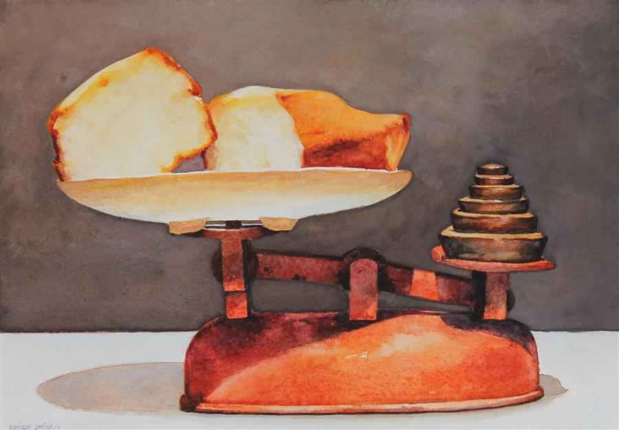 Original art for sale at UGallery.com | Pound Cake by Dwight Smith | $325 | watercolor painting | 7' h x 10' w | ..\art\watercolor-painting-Pound-Cake