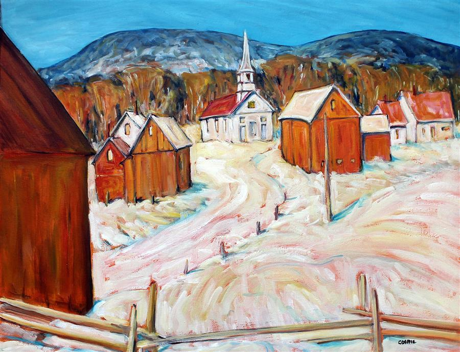 Original art for sale at UGallery.com | Waits River Church, Vermont by Doug Cosbie | $350 | oil painting | 14' h x 18' w | ..\art\oil-painting-Waits-River-Church-Vermont