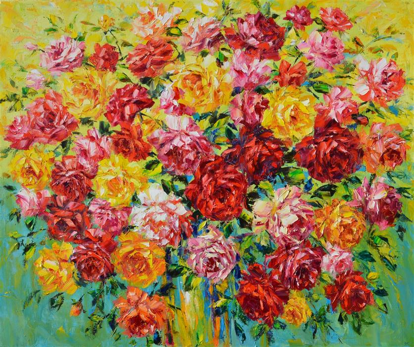 Original art for sale at UGallery.com | Bright Bouquet of Flowers by Iryna Kastsova | $3,100 | oil painting | 39' h x 47' w | ..\art\oil-painting-Bright-Bouquet-of-Flowers