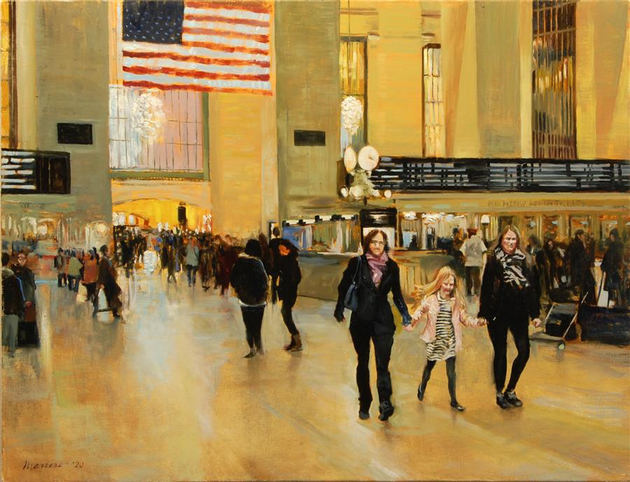 Original art for sale at UGallery.com | Departures and Arrivals by Onelio Marrero | $1,125 | oil painting | 18' h x 24' w | ..\art\oil-painting-Departures-and-Arrivals