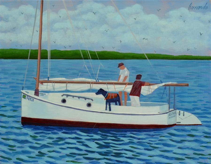Original art for sale at UGallery.com | Sarasota Sailing by Fernando Soler | $450 | acrylic painting | 12' h x 14' w | ..\art\acrylic-painting-Sarasota-Sailing