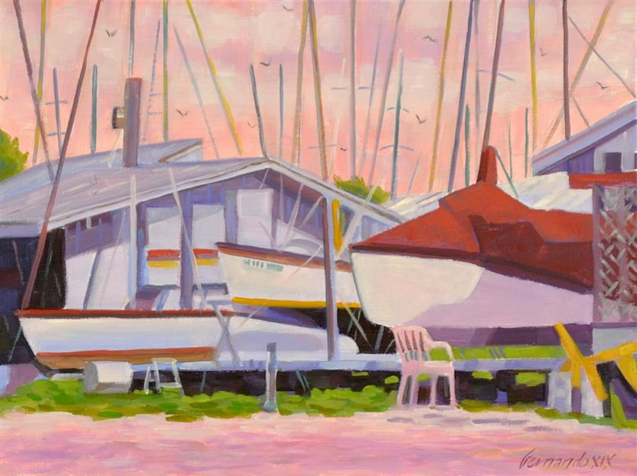 Original art for sale at UGallery.com | Island Boat Yard by Fernando Soler | $500 | oil painting | 12' h x 16' w | ..\art\oil-painting-Island-Boat-Yard