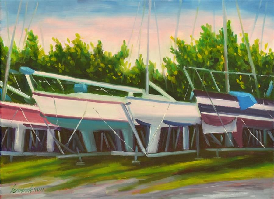 Original art for sale at UGallery.com | City Boat Yard by Fernando Soler | $350 | oil painting | 12' h x 16' w | ..\art\oil-painting-City-Boat-Yard