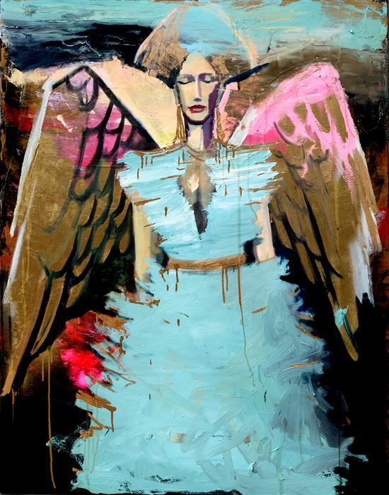 Original art for sale at UGallery.com | An Angel with Golden Belt by Scott Dykema | $4,400 | mixed media artwork | 48' h x 36' w | ..\art\mixed-media-artwork-An-Angel-with-Golden-Belt