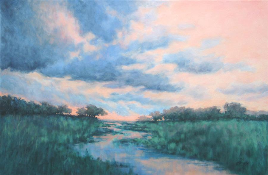 Original art for sale at UGallery.com | Almost Twilight Time by Suzanne Massion | $1,300 | oil painting | 24' h x 36' w | ..\art\oil-painting-Almost-Twilight-Time
