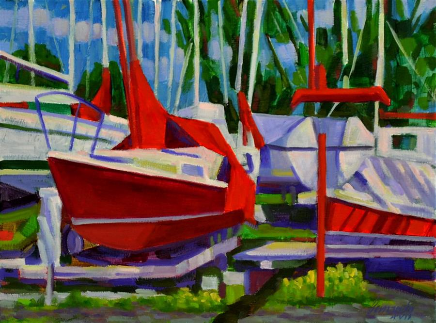 Original art for sale at UGallery.com | Boats at Rest by Fernando Soler | $500 | oil painting | 12' h x 16' w | ..\art\oil-painting-Boats-at-Rest