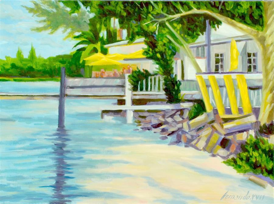Original art for sale at UGallery.com | City Island Bait Shop by Fernando Soler | $500 | oil painting | 12' h x 16' w | ..\art\oil-painting-City-Island-Bait-Shop
