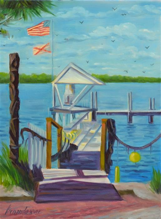 Original art for sale at UGallery.com | City Island Pier by Fernando Soler | $500 | oil painting | 16' h x 12' w | ..\art\oil-painting-City-Island-Pier