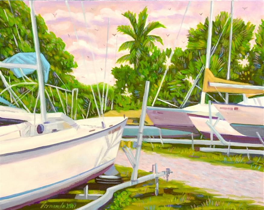 Original art for sale at UGallery.com | Sarasota Boat Yard by Fernando Soler | $675 | oil painting | 18' h x 24' w | ..\art\oil-painting-Sarasota-Boat-Yard