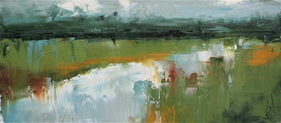 Original art for sale at UGallery.com | A Landscape's Plan II by Ronda Waiksnis | $550 | oil painting | 10' h x 22' w | ..\art\oil-painting-A-Landscape-s-Plan-II