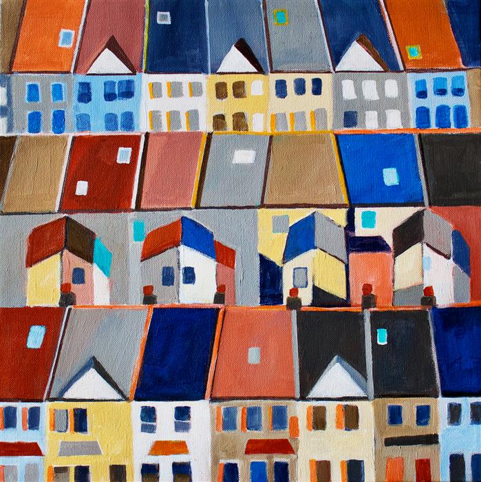 Original art for sale at UGallery.com | English Village Houses by Toni Silber-Delerive | $750 | acrylic painting | 16' h x 16' w | ..\art\acrylic-painting-English-Village-Houses