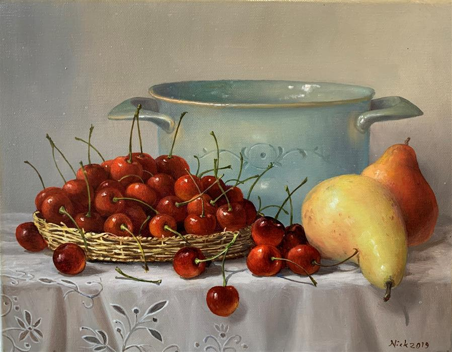 Original art for sale at UGallery.com | Still Life with Pears and Cherries by Nikolay Rizhankov | $825 | oil painting | 11' h x 14' w | ..\art\oil-painting-Still-Life-with-Pears-and-Cherries