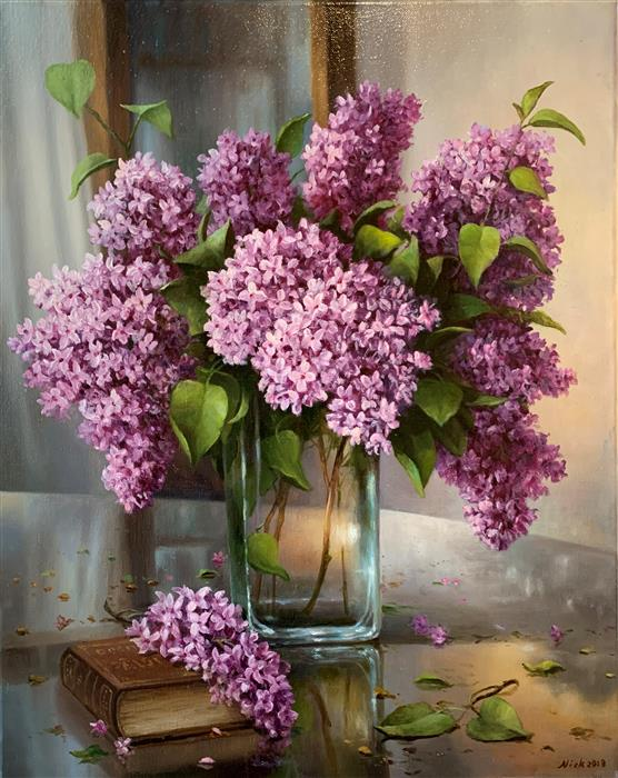 Original art for sale at UGallery.com | Still Life with Lilac and Book by Nikolay Rizhankov | $1,000 | oil painting | 20' h x 16' w | ..\art\oil-painting-Still-Life-with-Lilac-and-Book