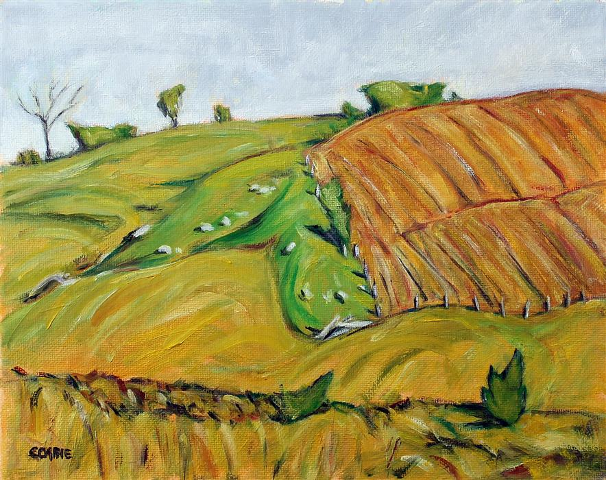 Original art for sale at UGallery.com | Rolling Fields, Berks County, PA by Doug Cosbie | $250 | oil painting | 8' h x 10' w | ..\art\oil-painting-Rolling-Fields-Berks-County-PA