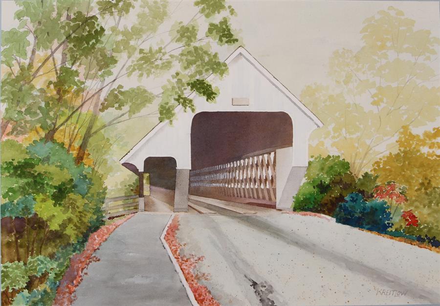 Original art for sale at UGallery.com | Woodstock Middle Bridge by Bill Kreitlow | $750 | watercolor painting | 15.5' h x 22.12' w | ..\art\watercolor-painting-Woodstock-Middle-Bridge